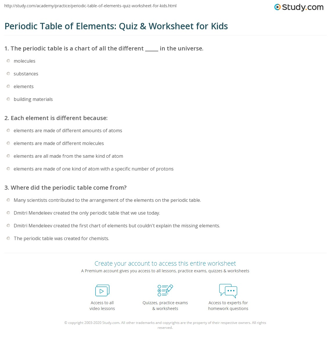 Periodic Table Of Elements Quiz Amp Worksheet For Kids