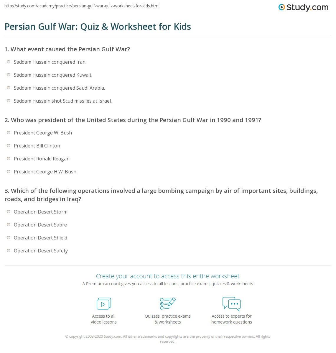 Persian Gulf War Quiz Amp Worksheet For Kids