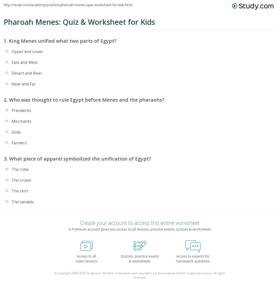 Pharoah Menes Quiz Amp Worksheet For Kids