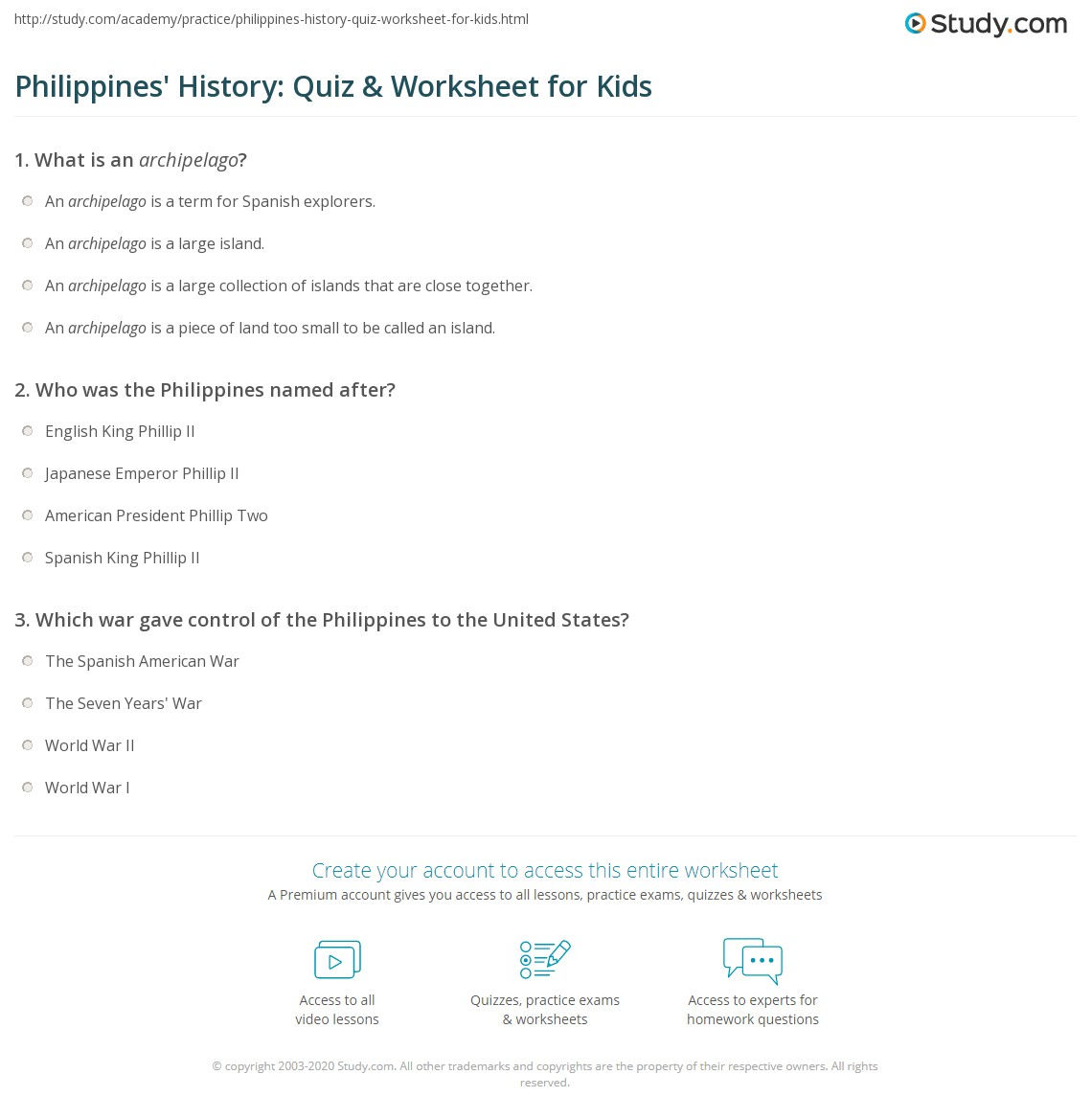 Philippines History Quiz Amp Worksheet For Kids
