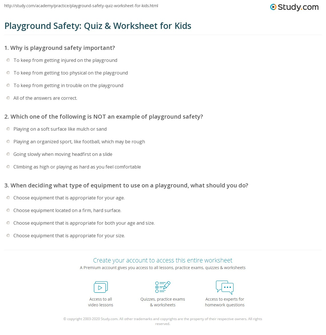 Playground Safety Quiz Amp Worksheet For Kids