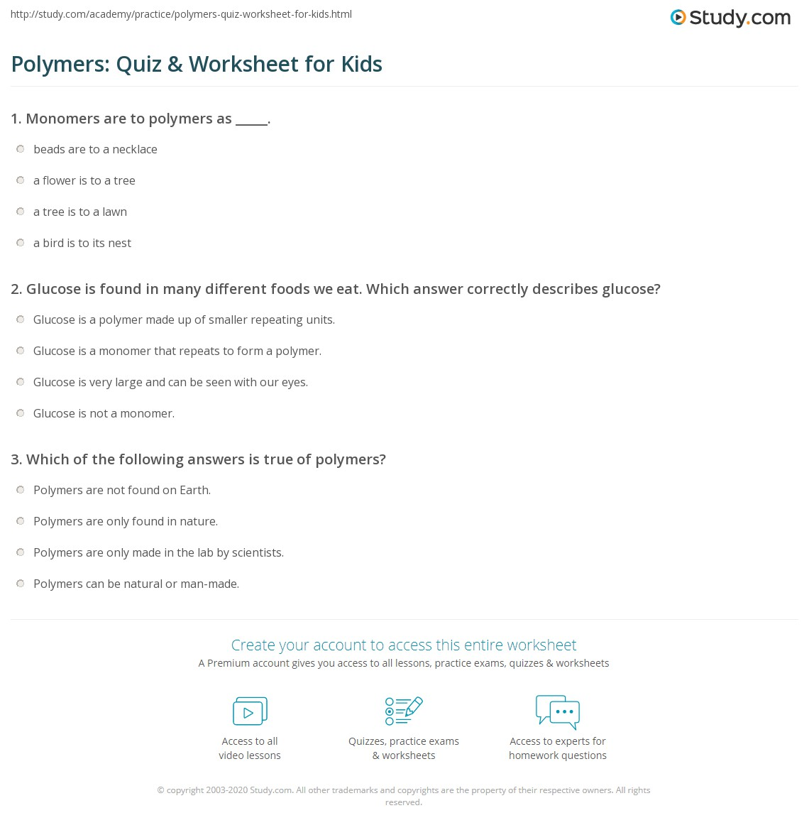 Polymers Quiz Amp Worksheet For Kids
