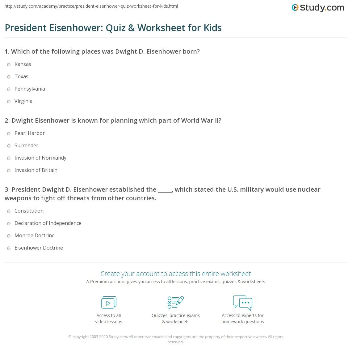 President Eisenhower Quiz Amp Worksheet For Kids