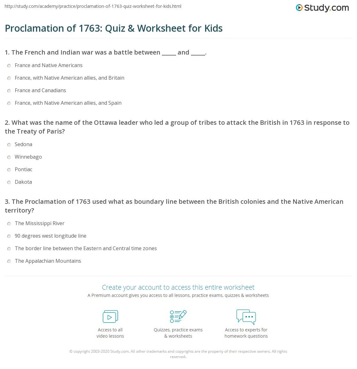 Proclamation Of Quiz Amp Worksheet For Kids
