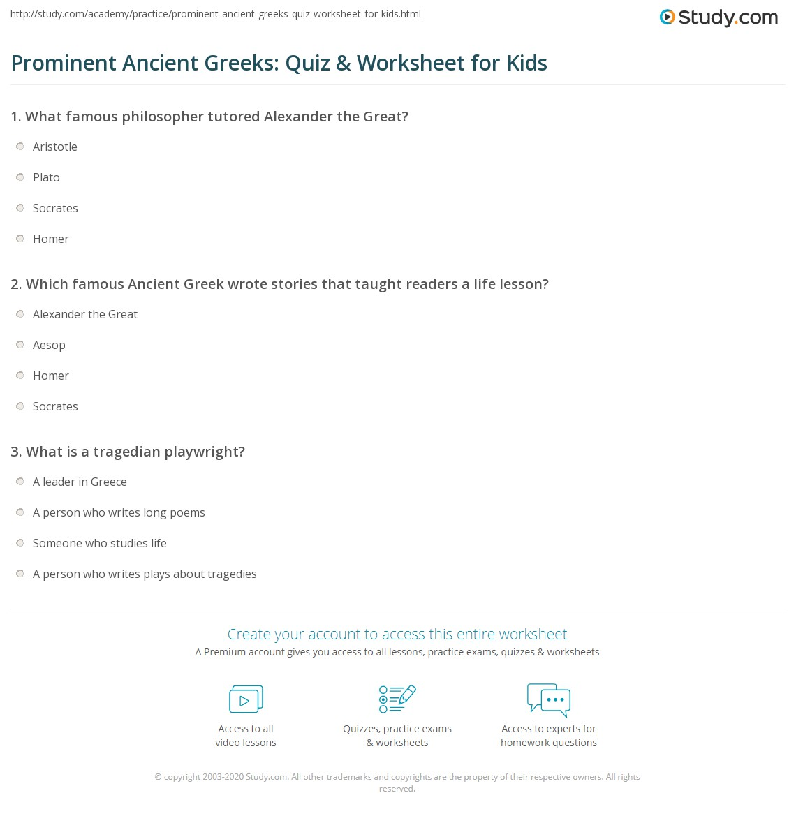 Prominent Ancient Greeks Quiz Amp Worksheet For Kids