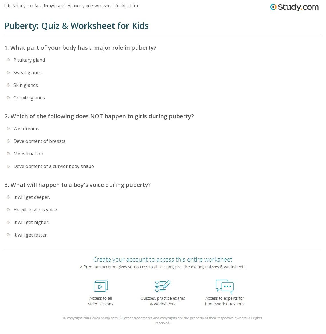 Puberty Quiz Amp Worksheet For Kids