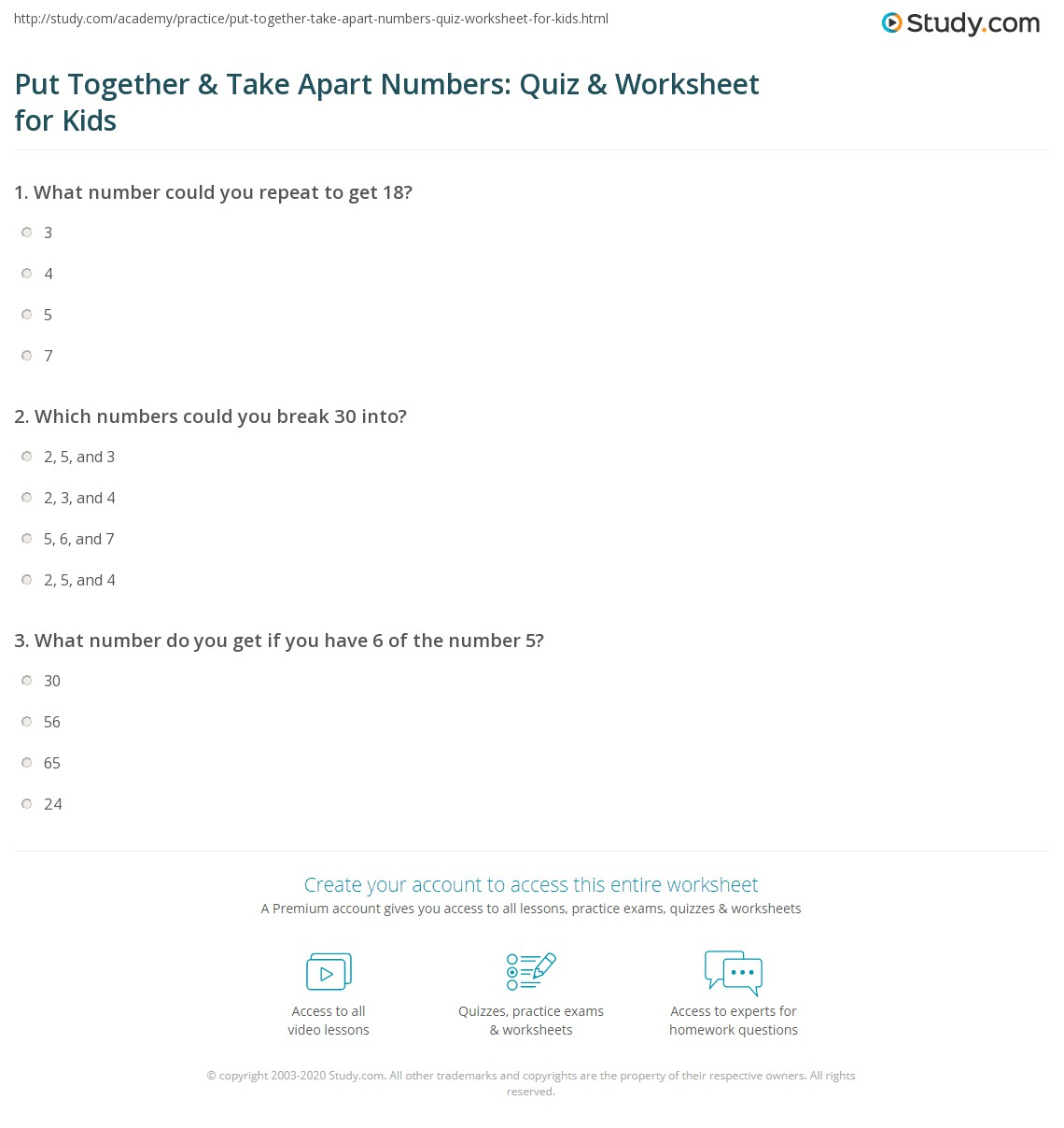 Put Together Amp Take Apart Numbers Quiz Amp Worksheet For
