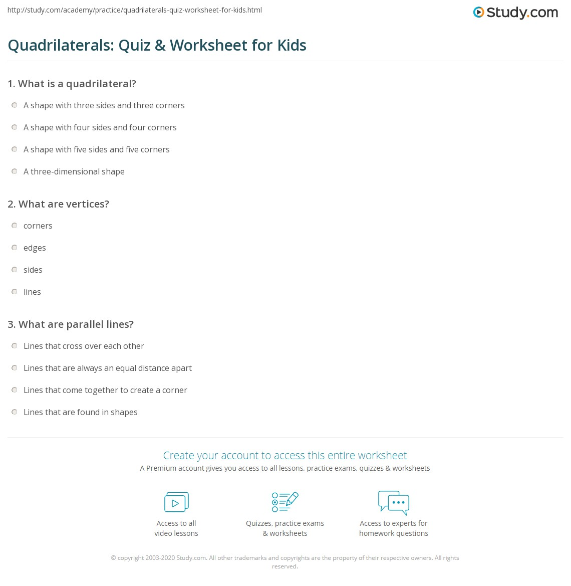 Quadrilaterals Quiz Amp Worksheet For Kids