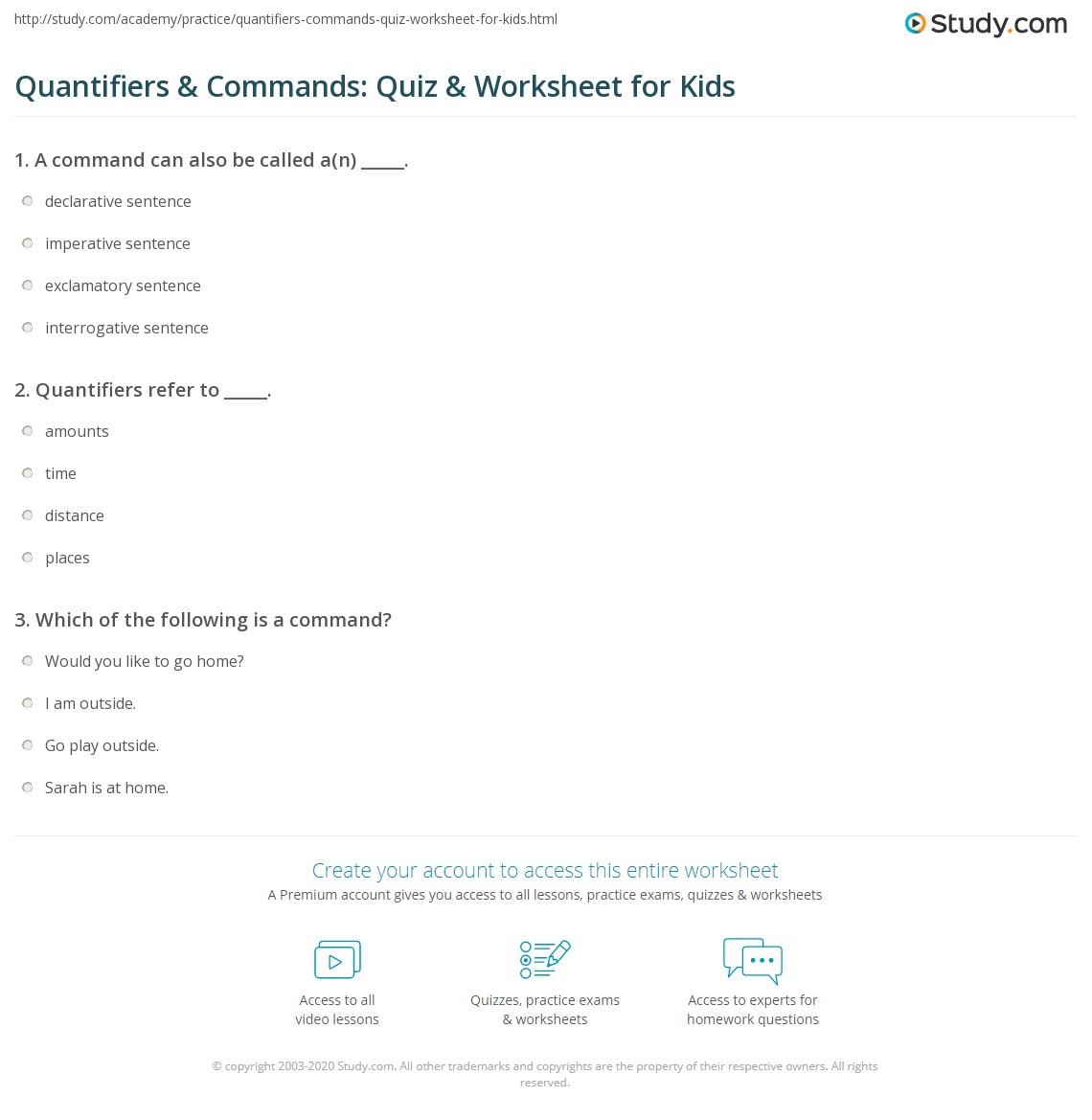 Quantifiers Amp Commands Quiz Amp Worksheet For Kids