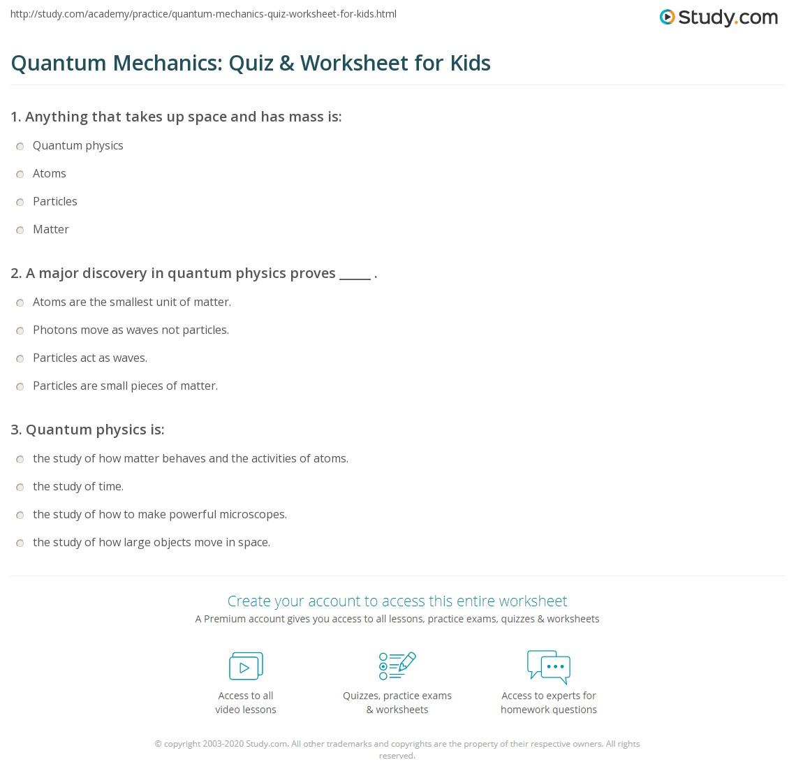 Quantum Mechanics Quiz Amp Worksheet For Kids