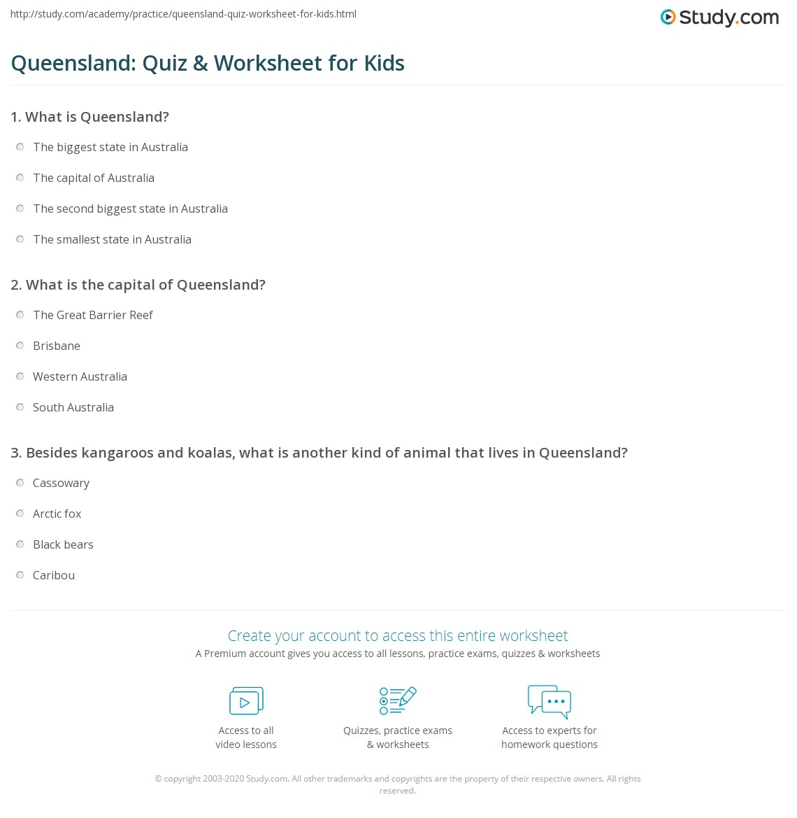 Queensland Quiz Amp Worksheet For Kids