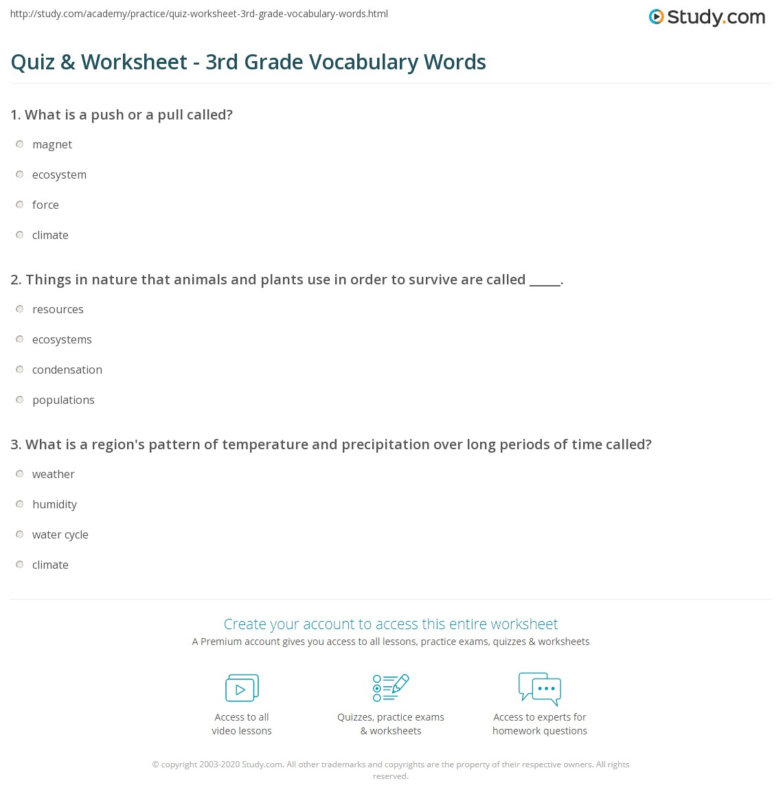 Worksheet On Question Words For Grade 3