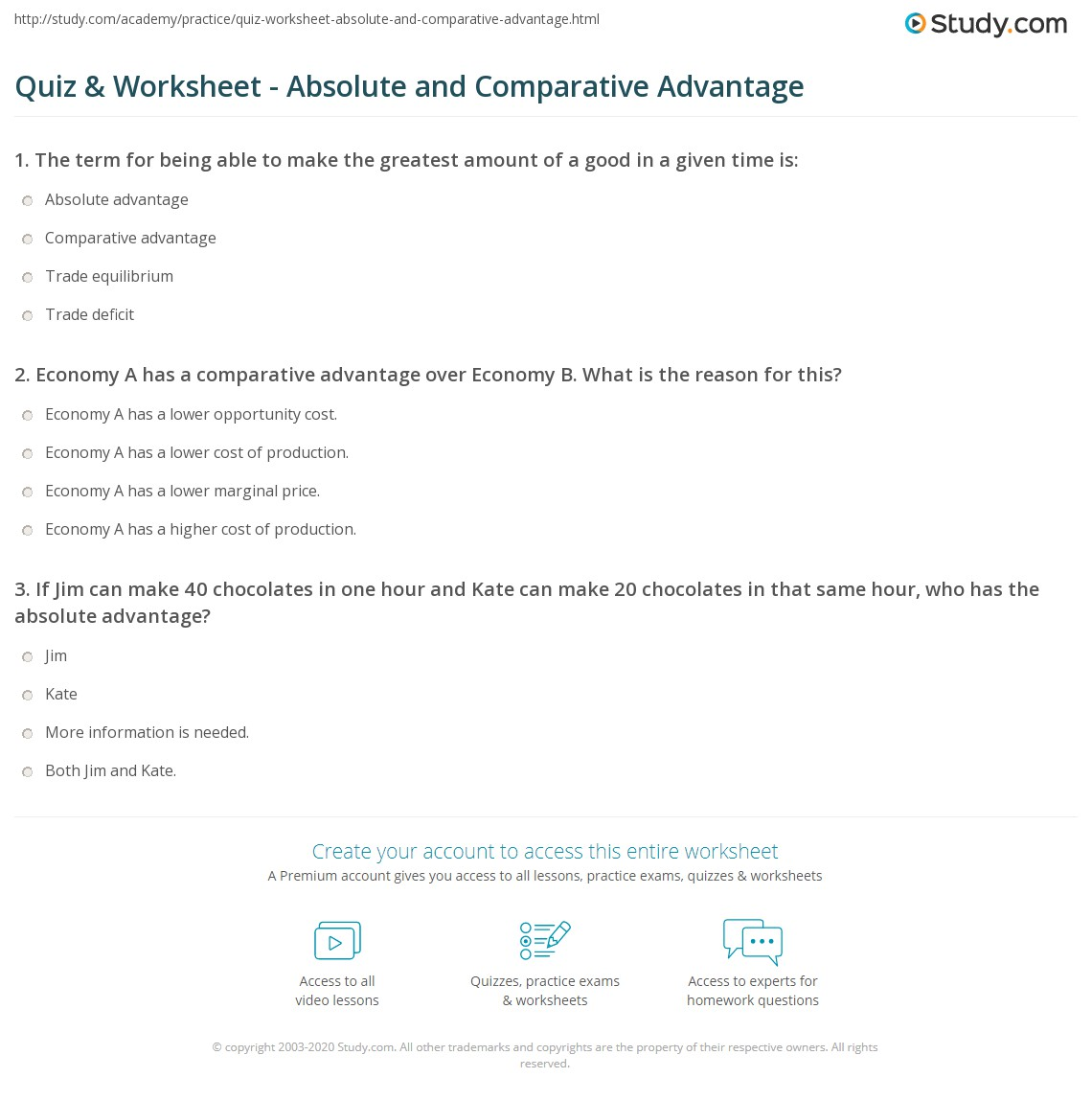 Comparative Advantage Worksheet