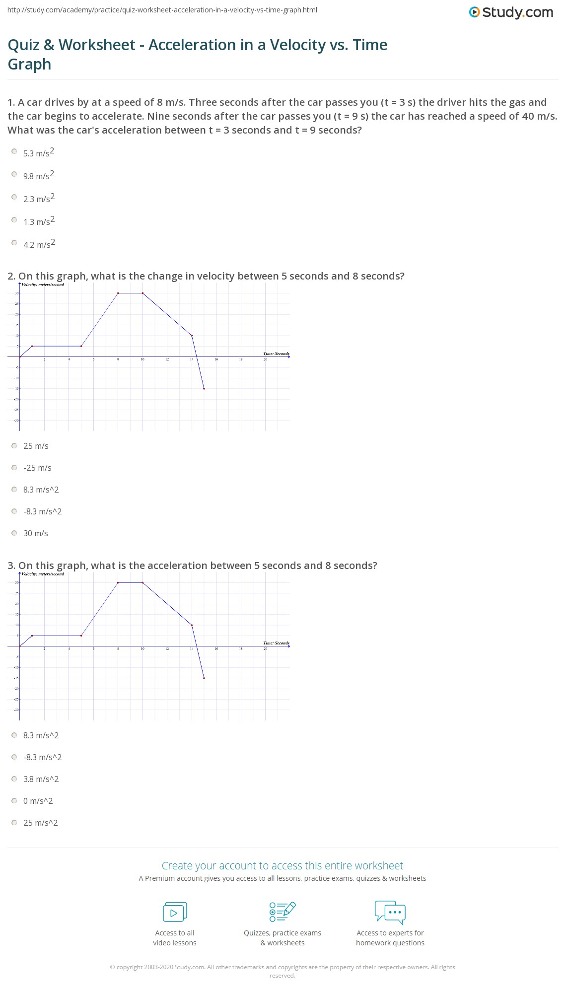 Worksheet Velocity And Acceleration Worksheet