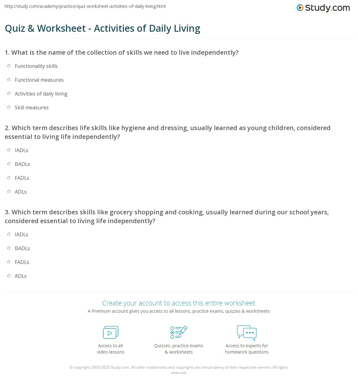 Activities Of Daily Living Worksheet