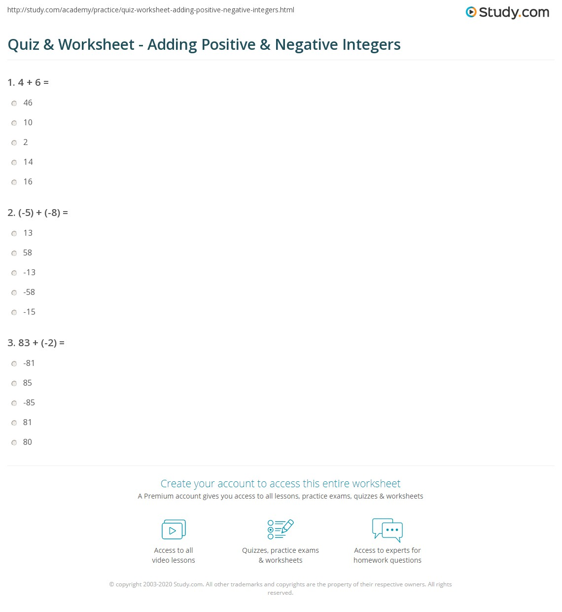 Positive And Negative Integers Worksheet