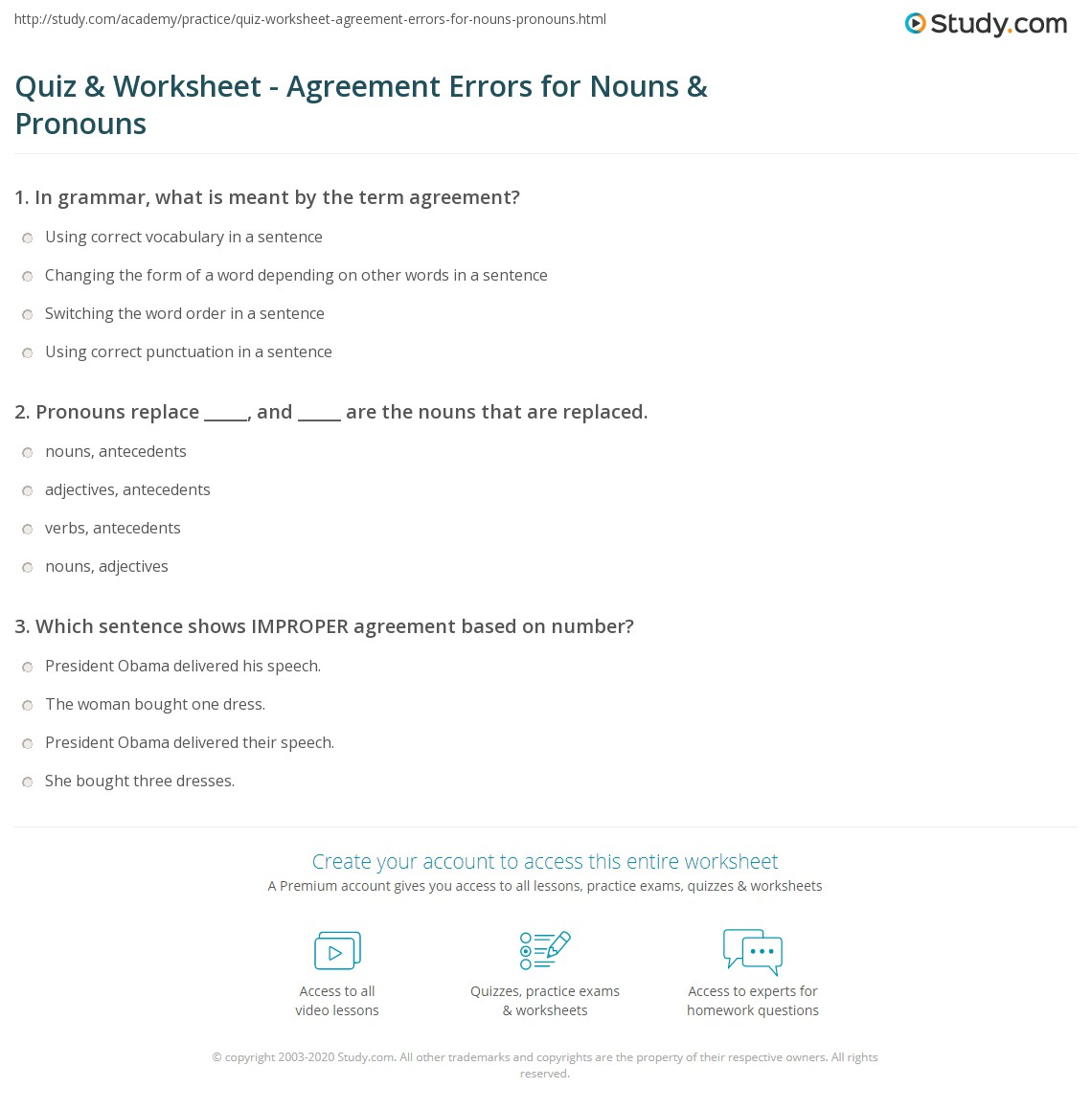 Noun Pronoun Agreement Worksheets