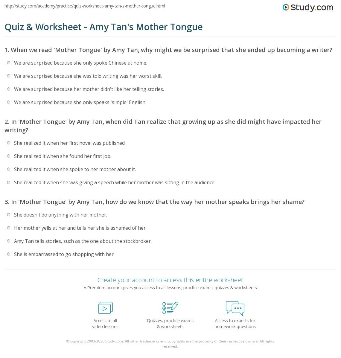Mother Tongue Essay Summary Sample