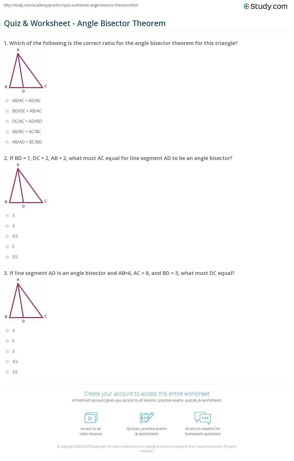 Bisecting Angles Worksheet Grade 7
