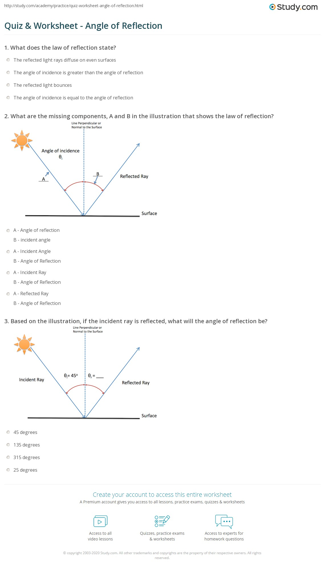 Beautiful Reflection And Refraction Worksheet Worksheets