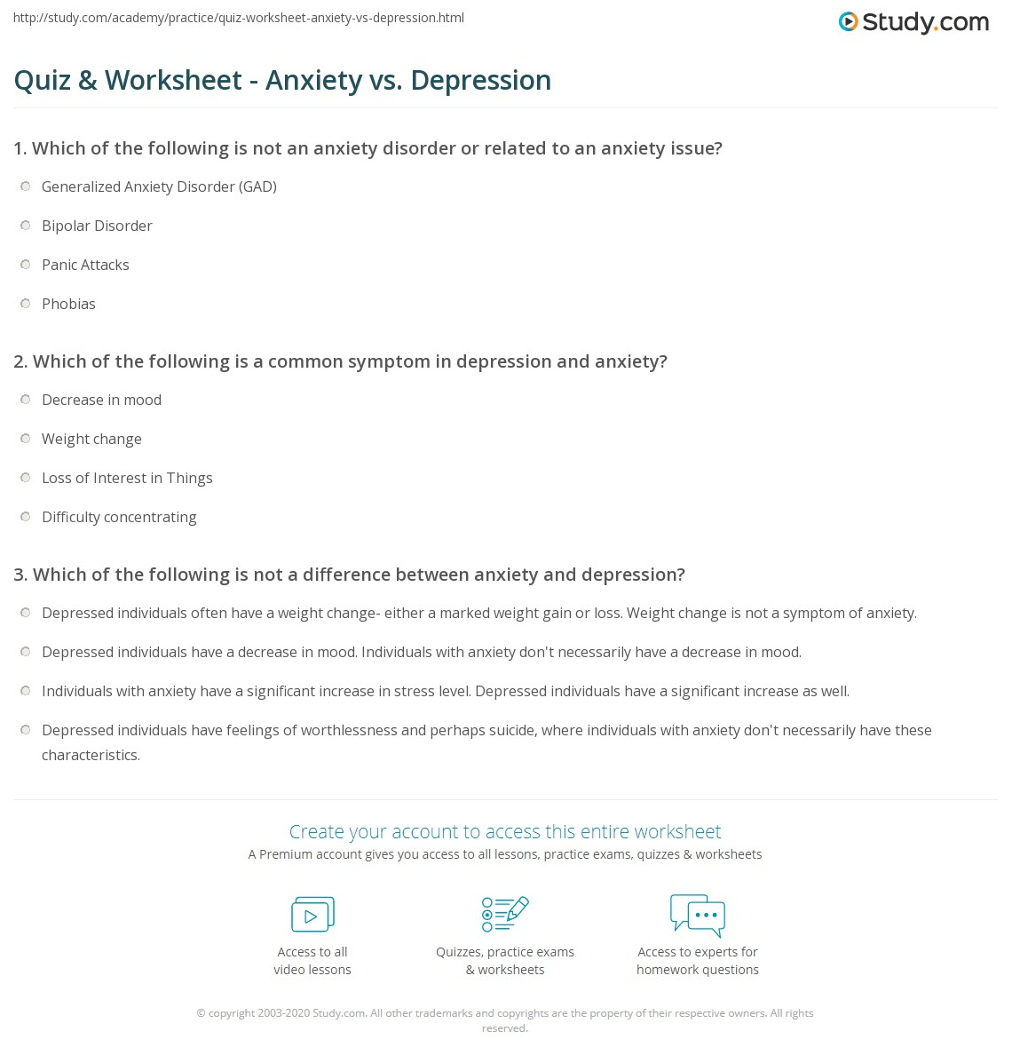 Depression Anxiety Worksheets