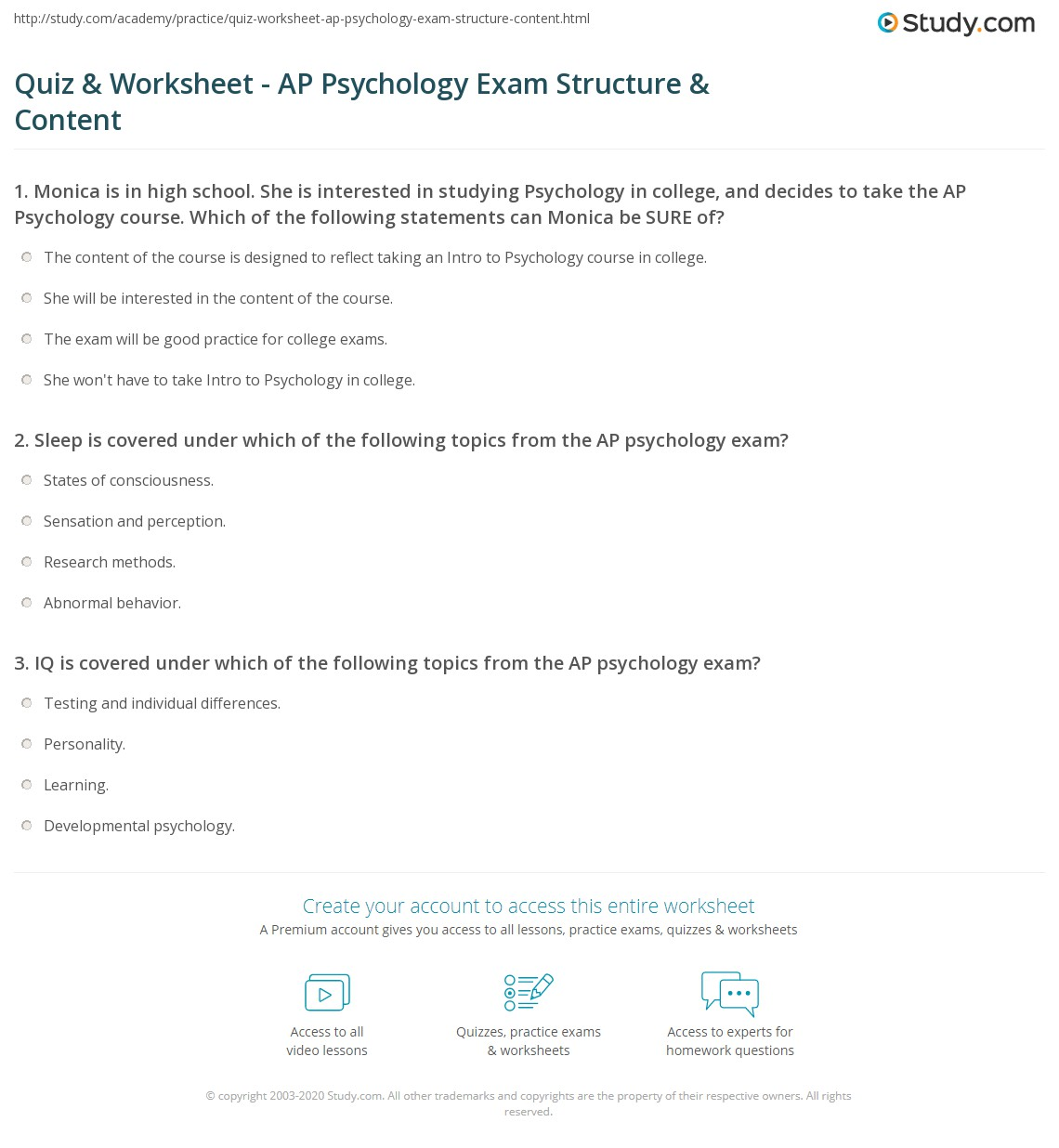 Psychology Worksheet With Answers