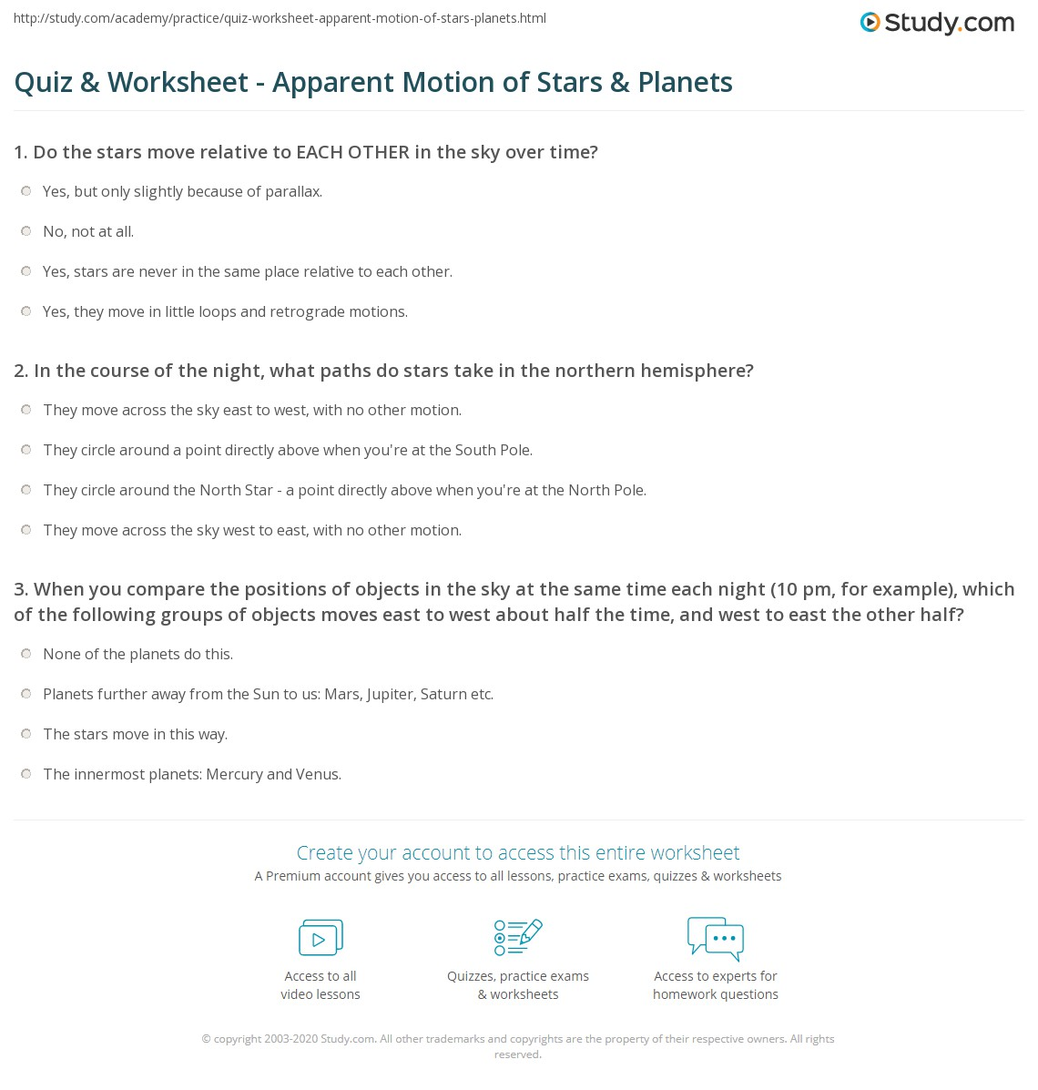 Star Worksheet For Middle School