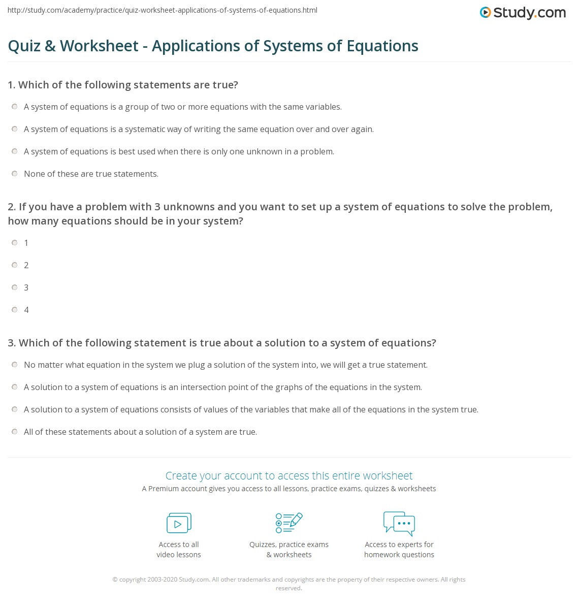 Chapter 3 Systems Of Equations Test Answers