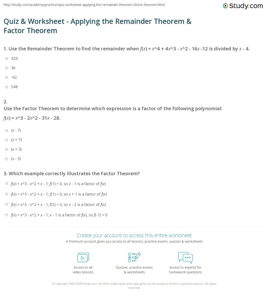 The Remainder Theorem Worksheet Answers