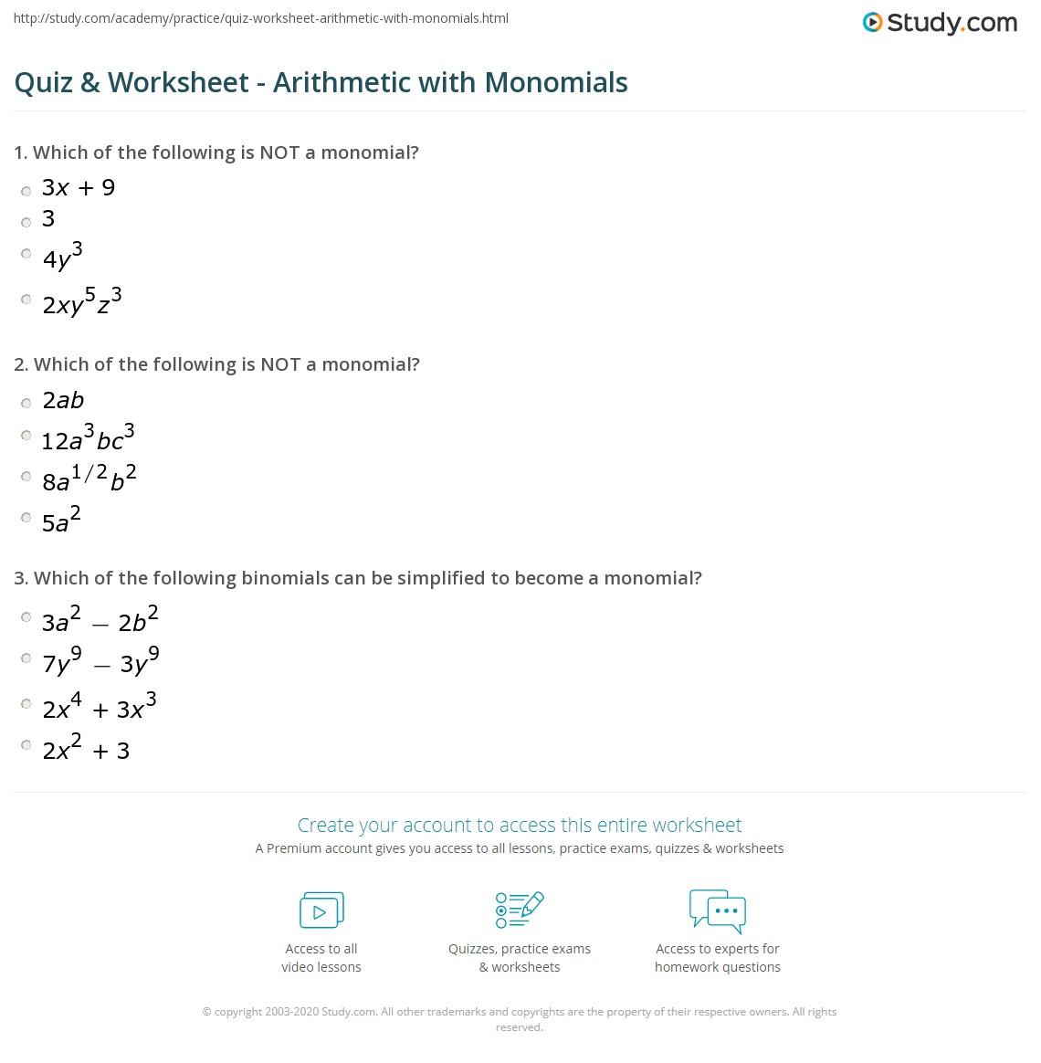 Monomial Worksheet Free Print