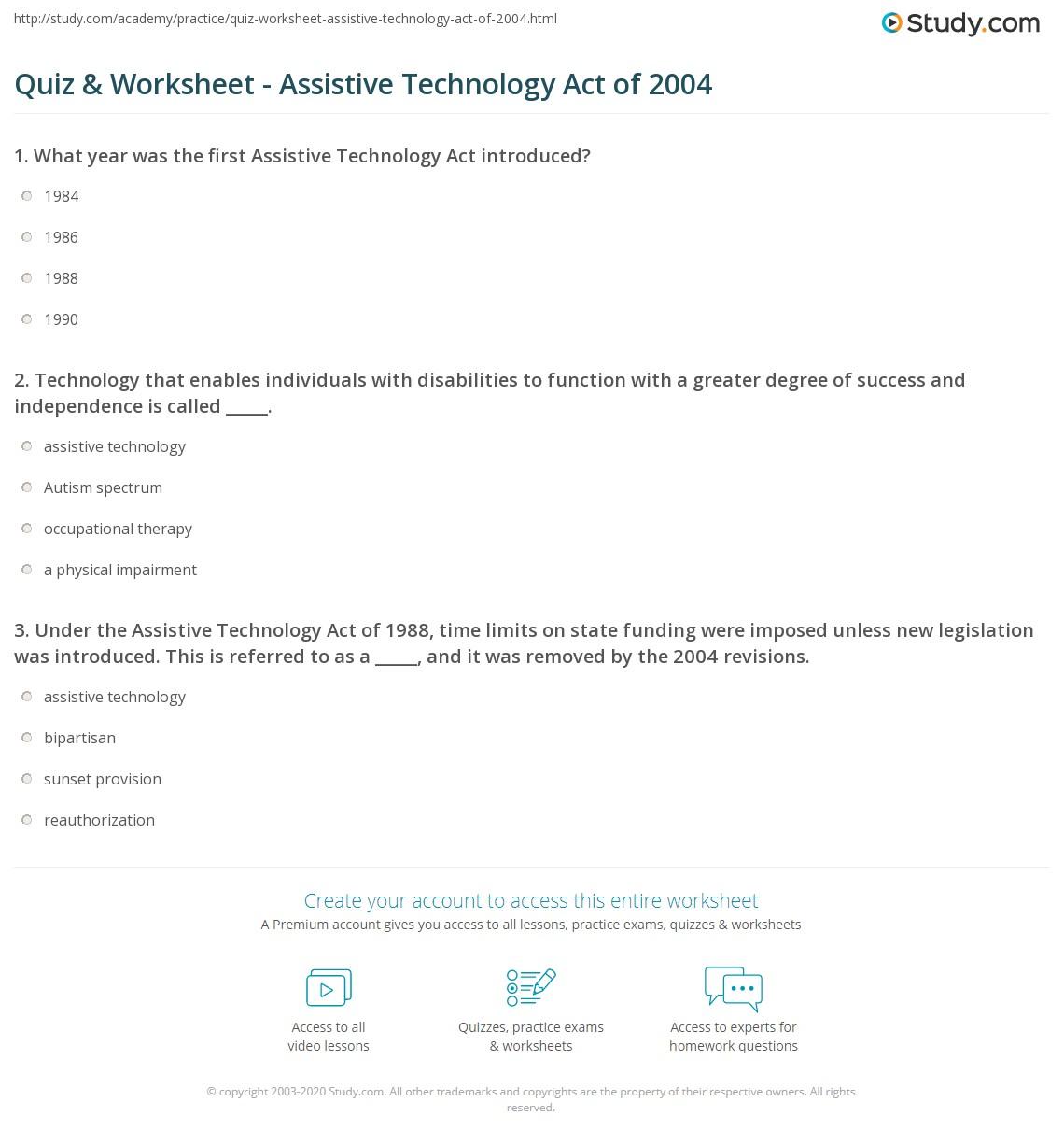 Example Technology Worksheet