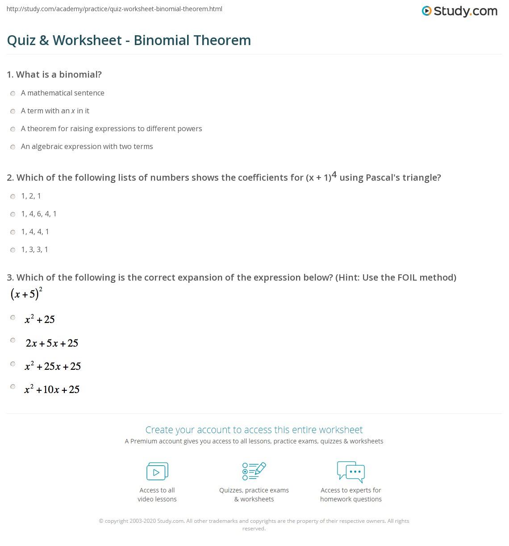31 Expanding Binomials Using Pascals Triangle Worksheet