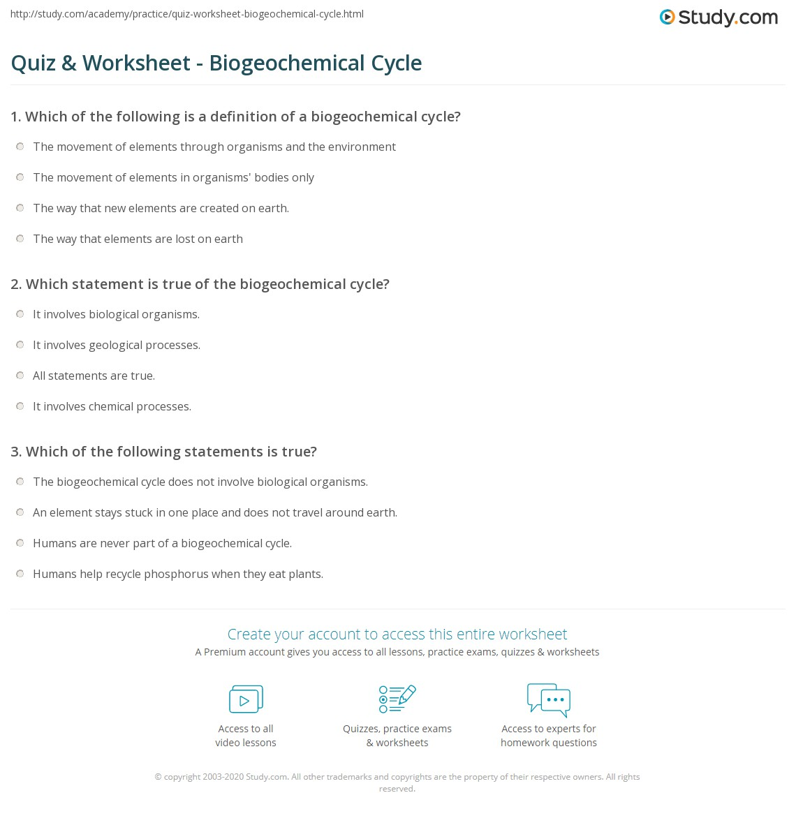 Biogeochemical Cycles Worksheet
