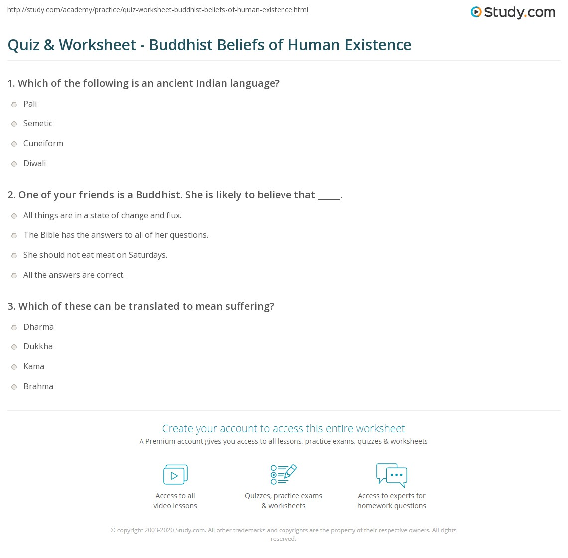 Buddhism Religion Worksheet