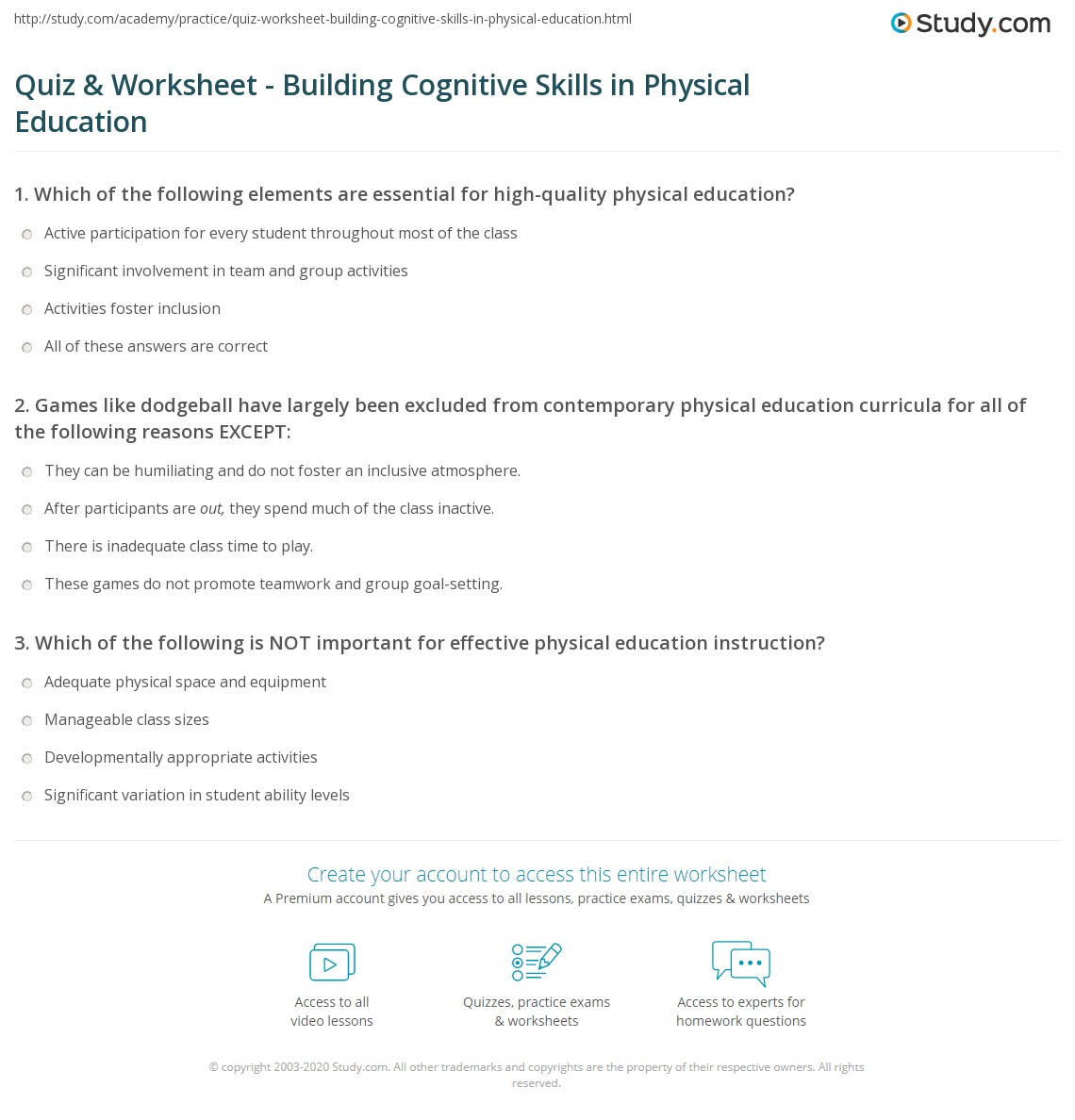 Cognitive Worksheet Kitchen