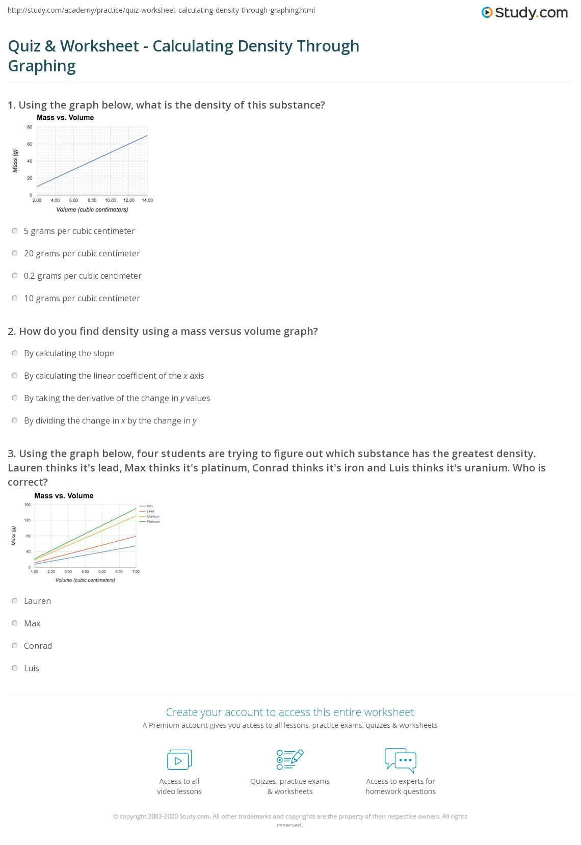Worksheet Density 2 14