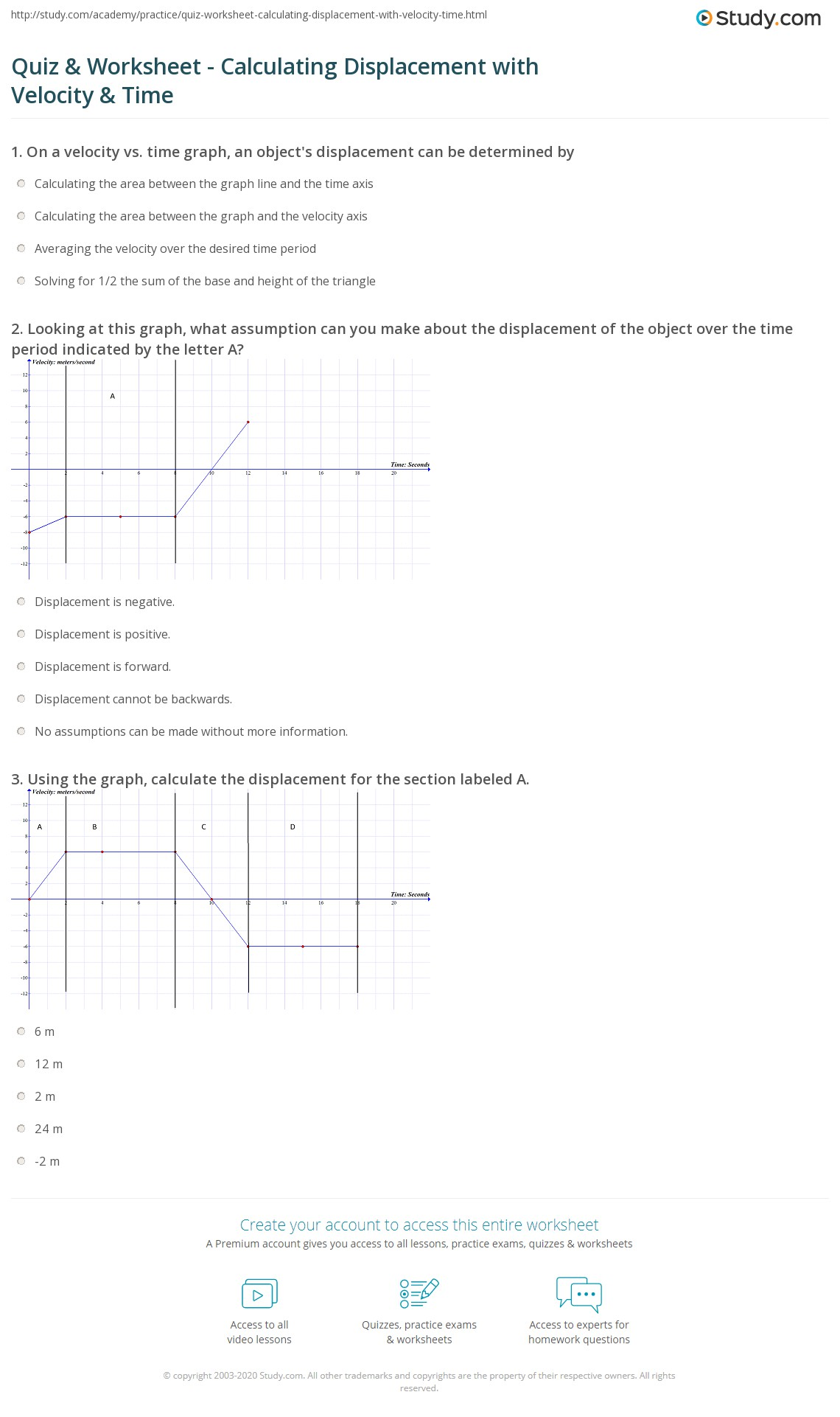 Displacement Velocity And Acceleration Worksheet Worksheets Tutsstar Thousands Of Printable