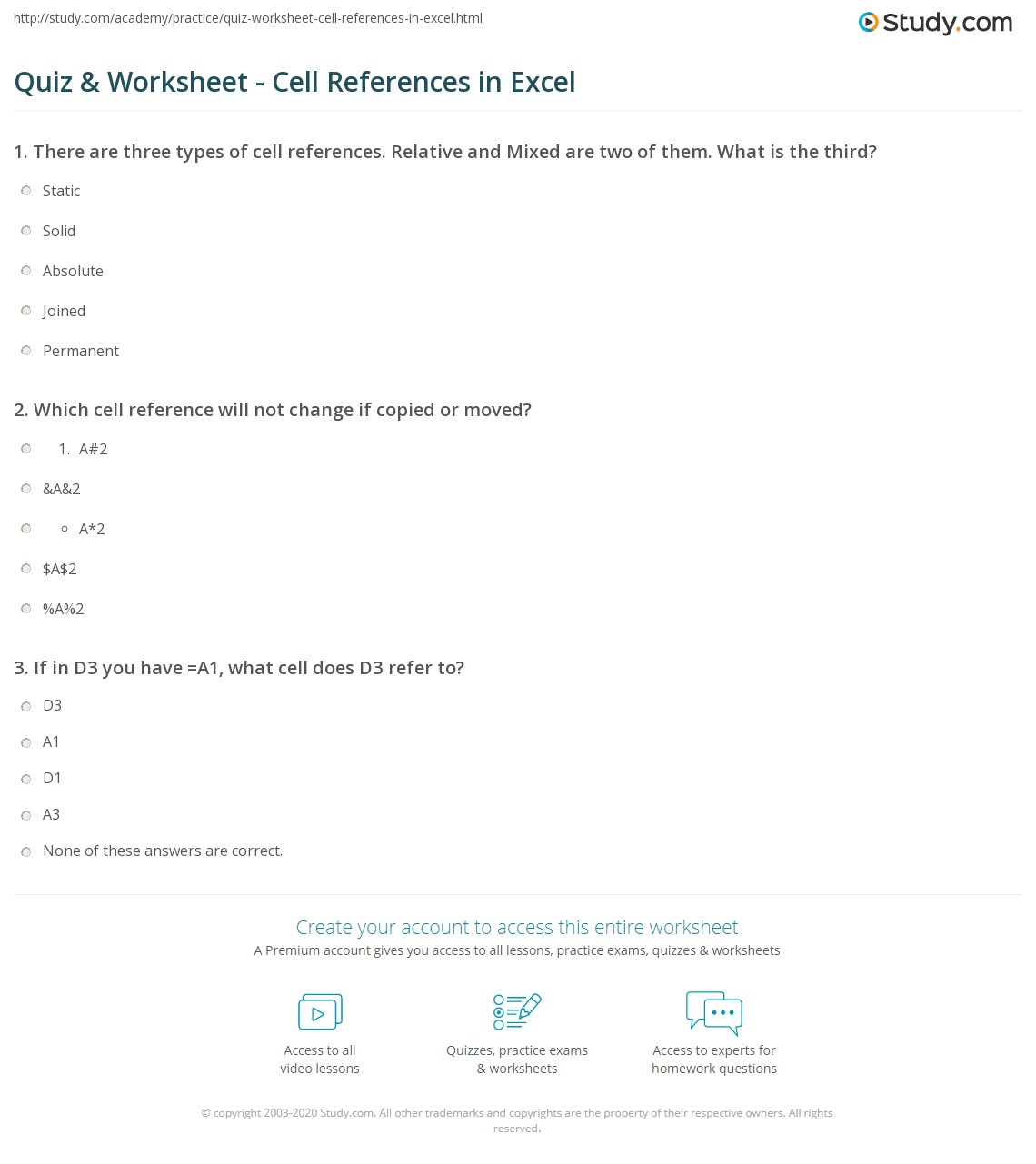 Reference Worksheet Cell