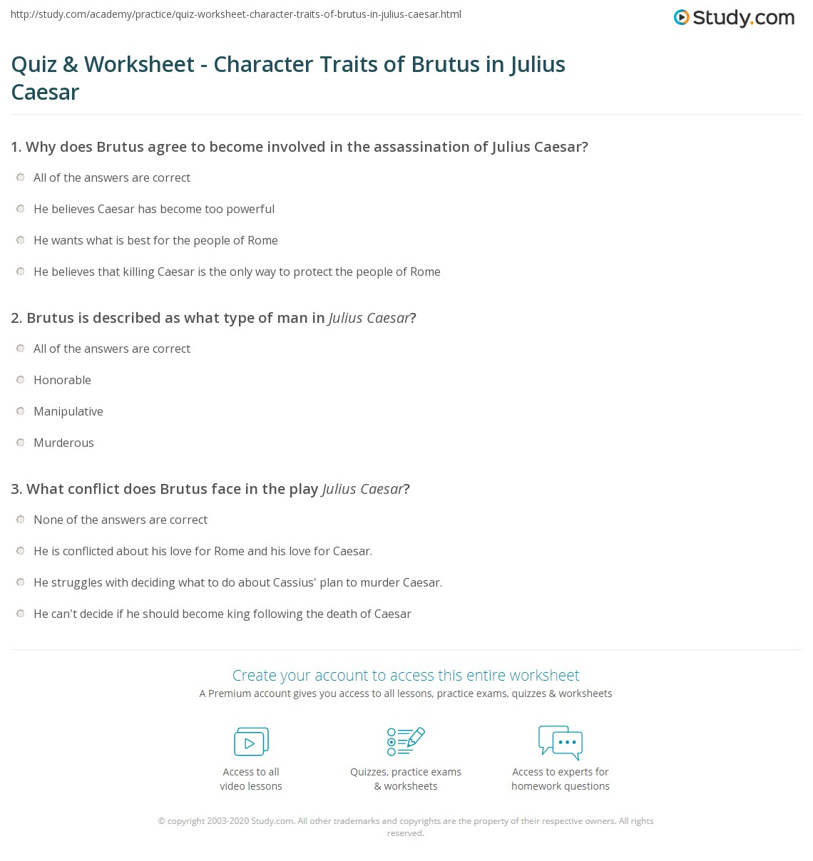 Julius Caesar Esl Worksheet