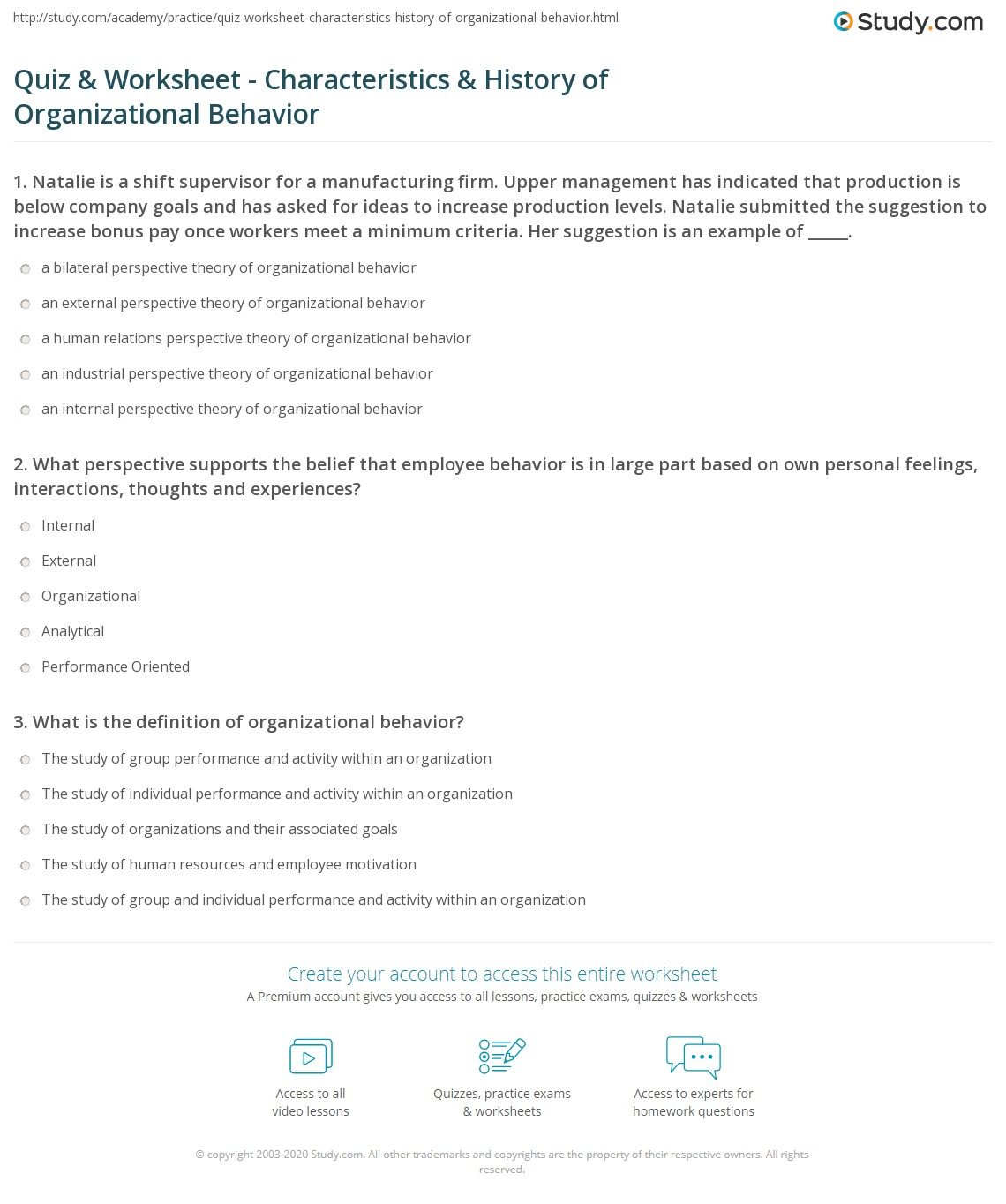 Organizational Behavior Definition Quiz Amp Worksheet