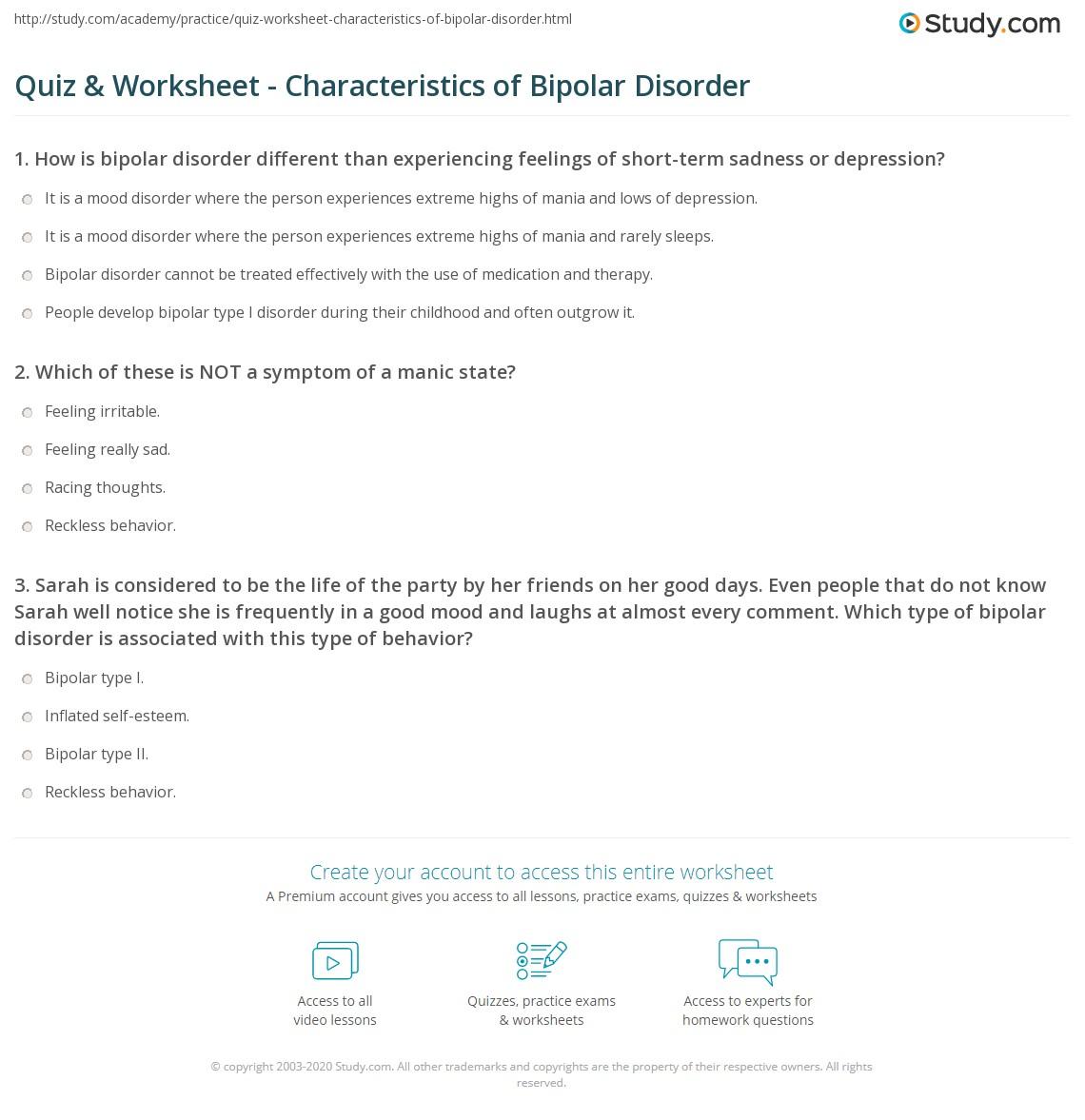 Bipolar 1 Disorder Worksheets