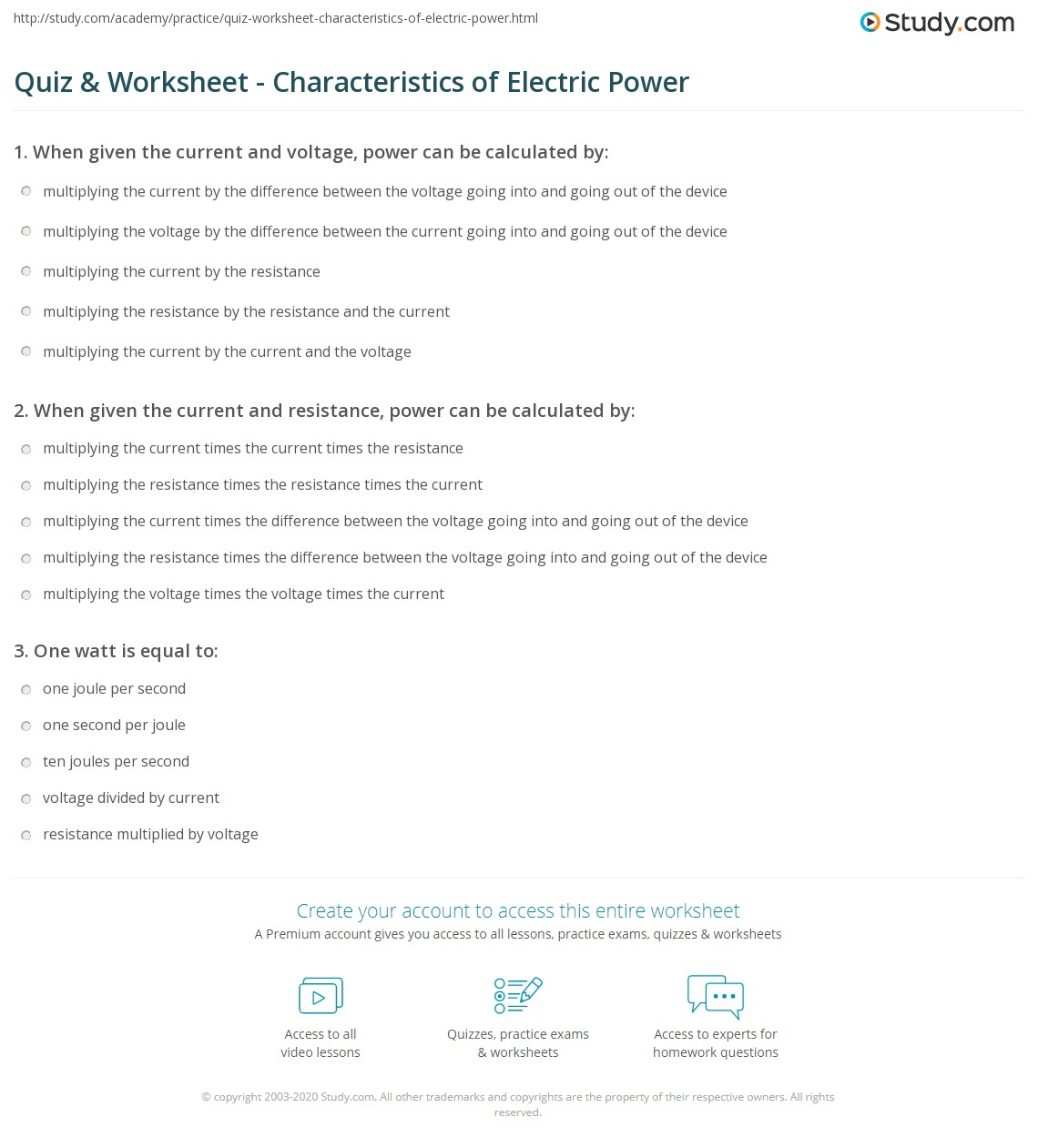 Electric Power Worksheet