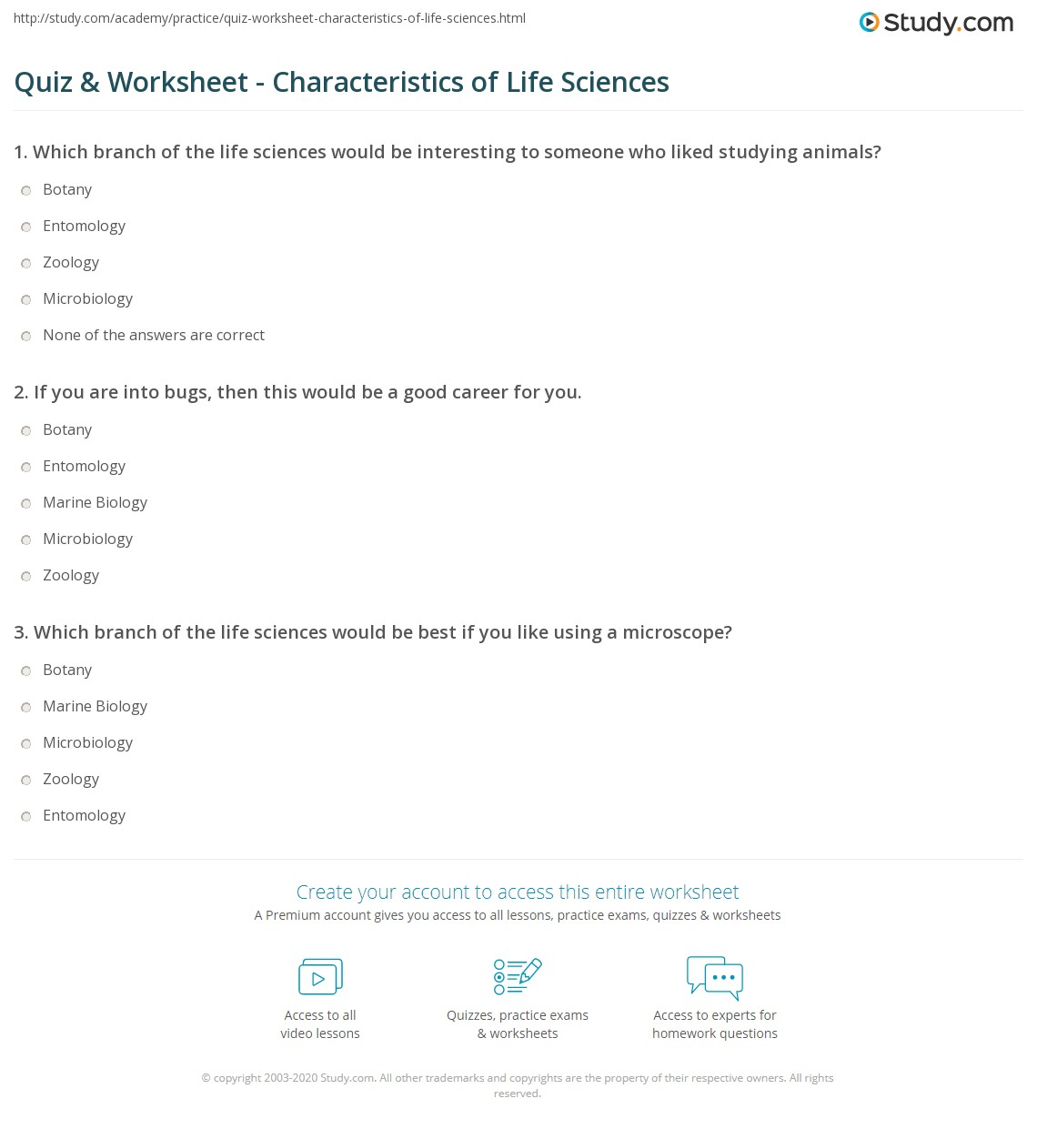 Characteristics Of Life Worksheet