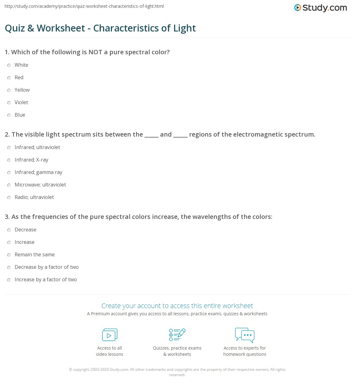 Light And Color Worksheet