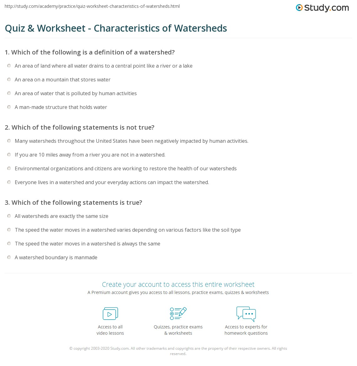 Collection Of Watershed Worksheets