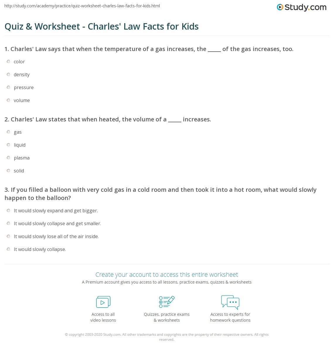 Worksheet Charles Law Worksheet Answers Worksheet Fun