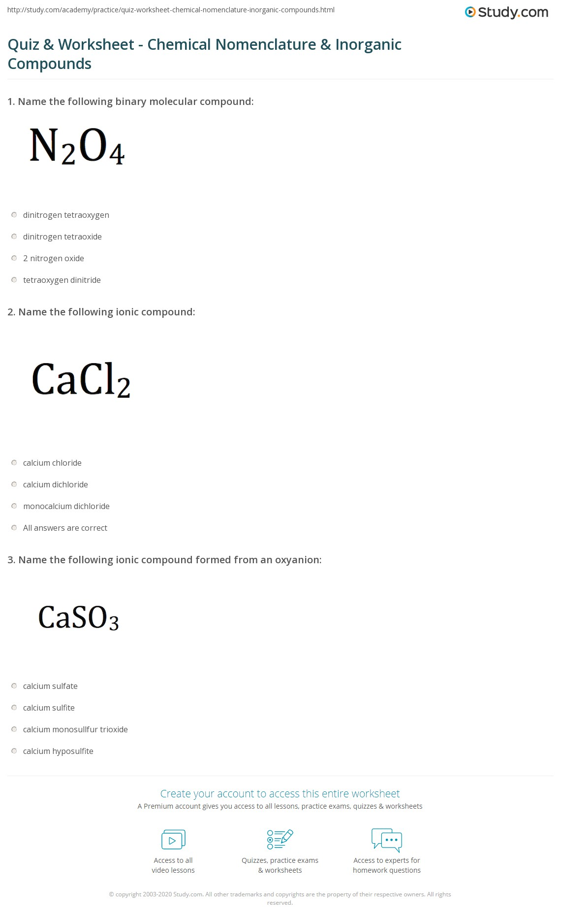 Molecular Compounds Worksheet Cf4