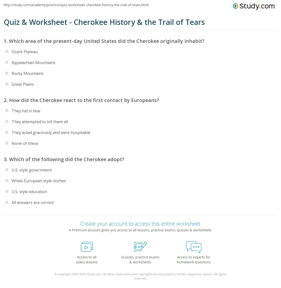 Cherokee Indians Worksheet