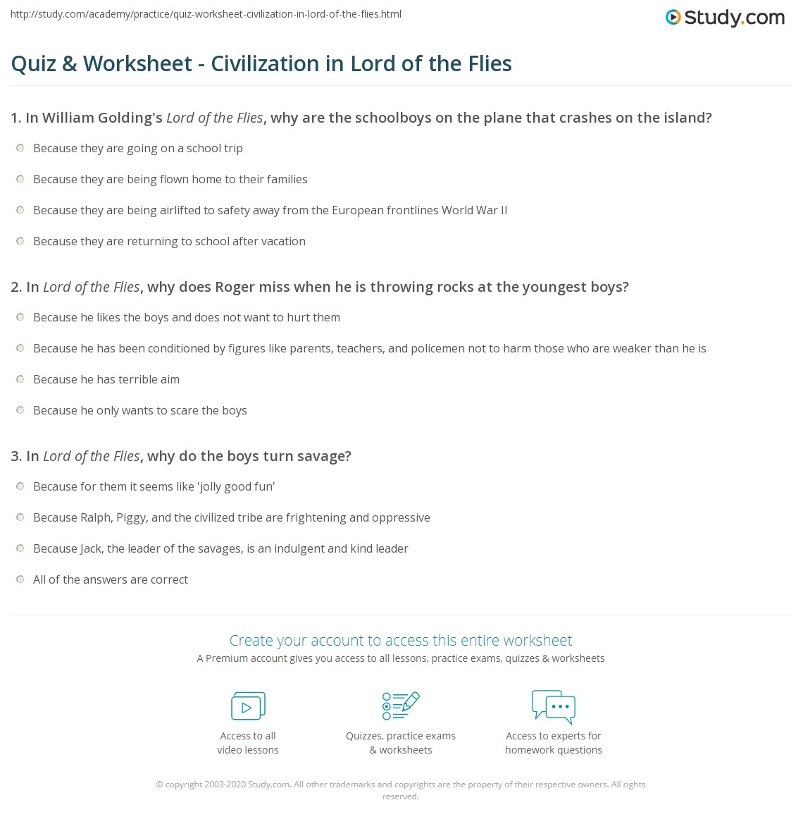 Lord Of The Flies Chapter 1 Worksheet