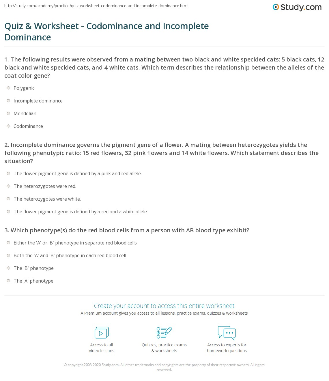 Worksheet Incomplete Dominance And Codominance Worksheet
